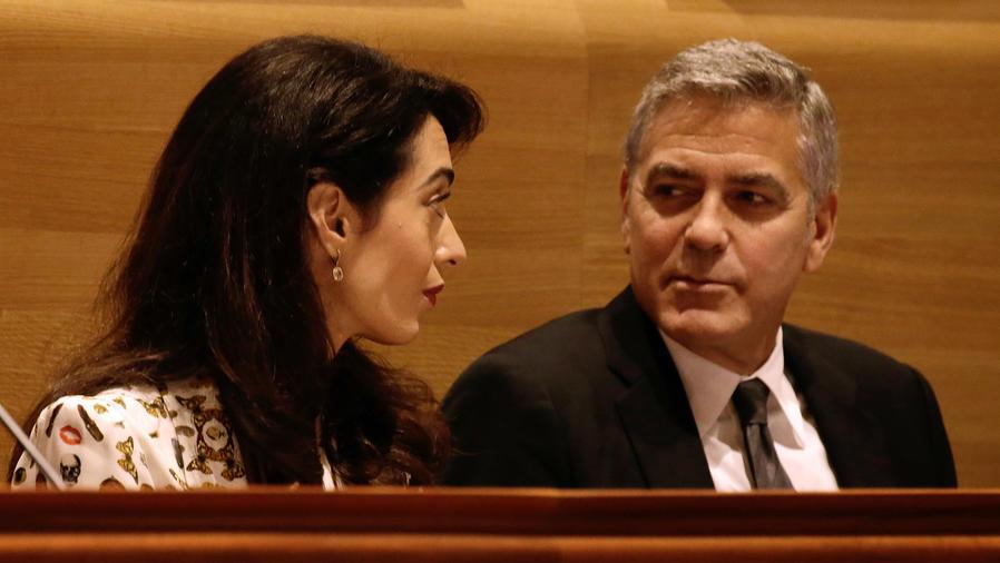 George y Amal Clooney en la Sesión General de Debate de las Naciones Unidas número 71