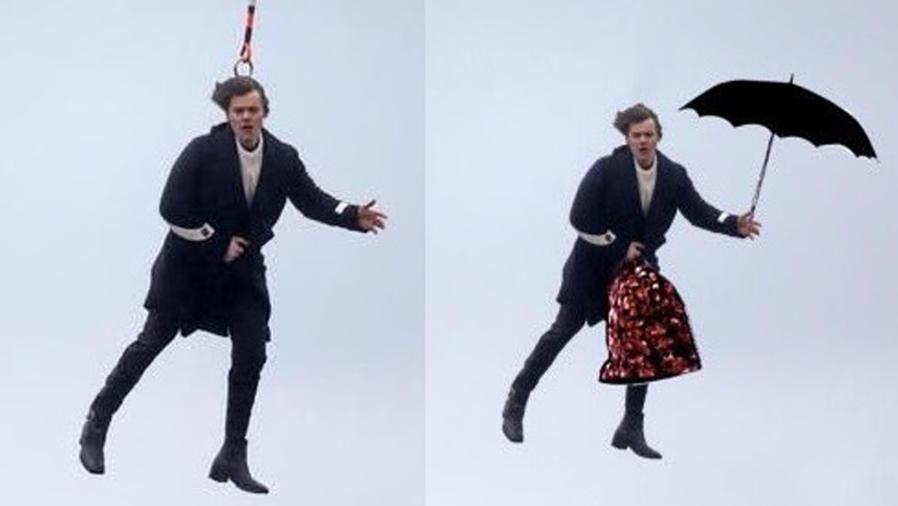 Harry Styles colgando de un helicóptero