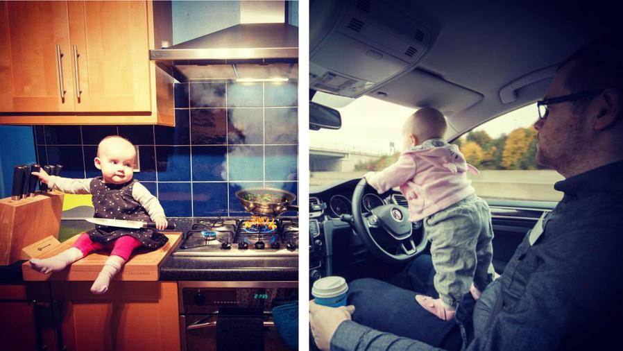 Bebé en la cocina junto a la estufa, y manejando un auto