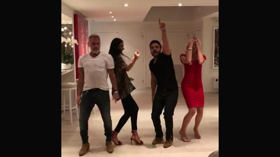 """Gianluca Vacchi y Luis Fonsi con sus parejas bailando """"Despacito"""""""