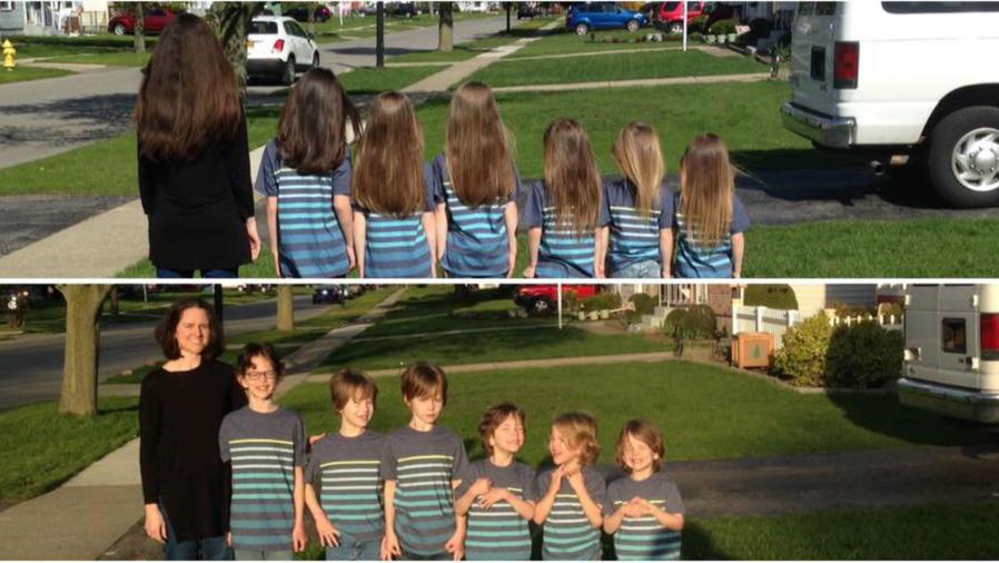 Phoebe y sus seis hijos antes y después de cortarse el pelo