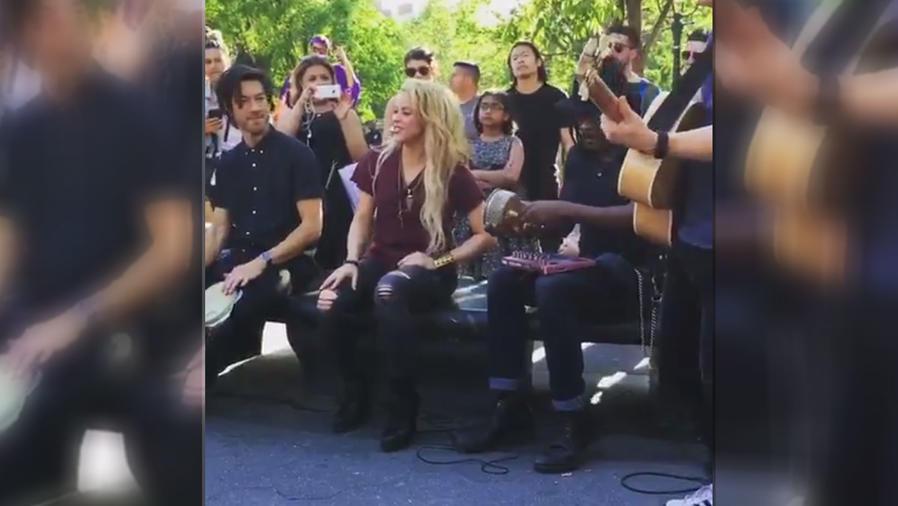 Shakira cantó como si nada en un parque