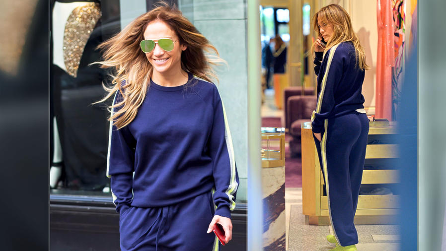 Jennifer Lopez luce muy sexy en tracksuit azul