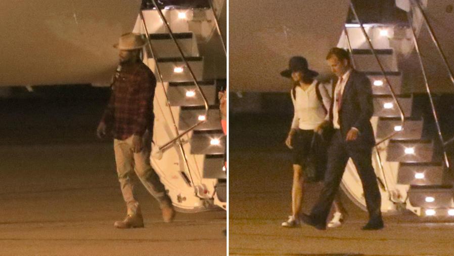 Jamie Foxx y Katie Holmes en un avión en París