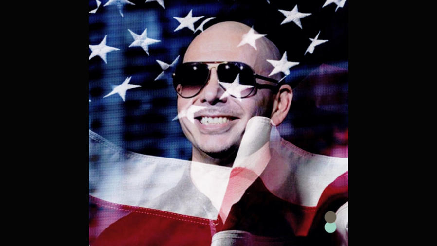 Pitbull con la bandera de EEUU