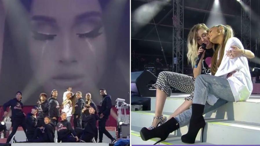 Ariana Grande y Miley Cyrus en el concierto One Love Manchester