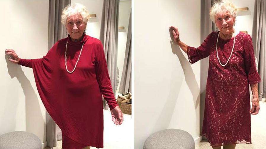 Sylvia Martin mostrando sus vestidos de novia