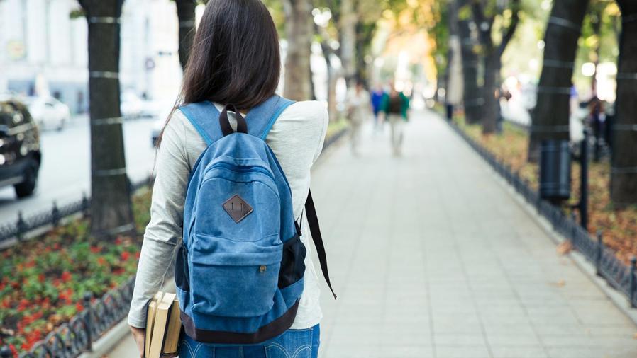 Estudiante de espaldas con libros y mochila