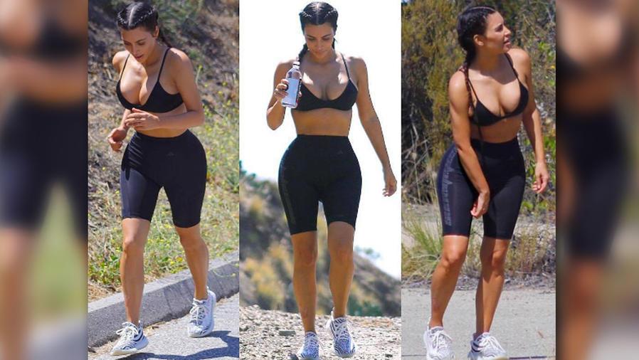 Kim Kardashian salió a ejercitarse