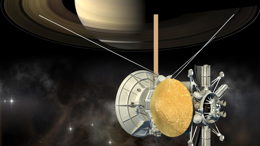 Misión Cassini orbitando el planeta Saturno