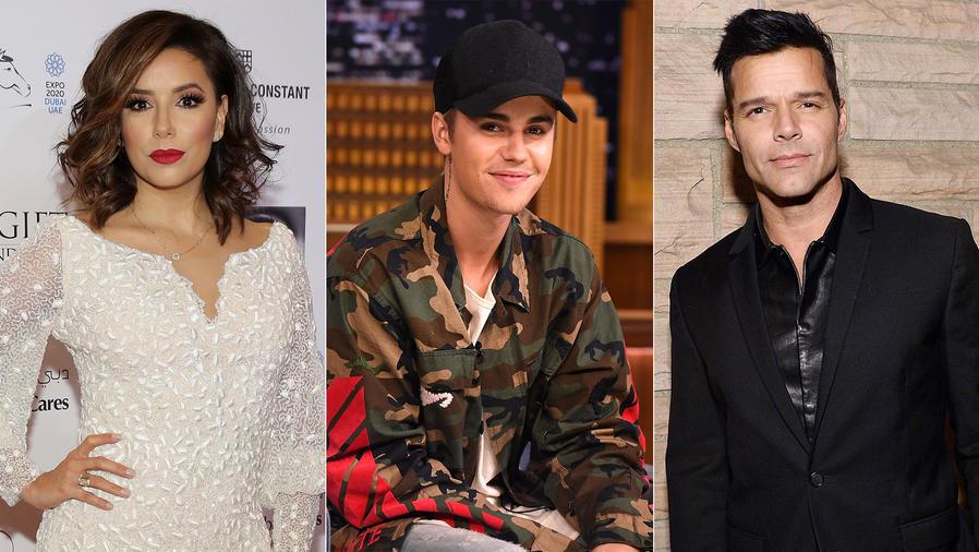 Ricky Martin, Eva Longoria, Justin Bieber