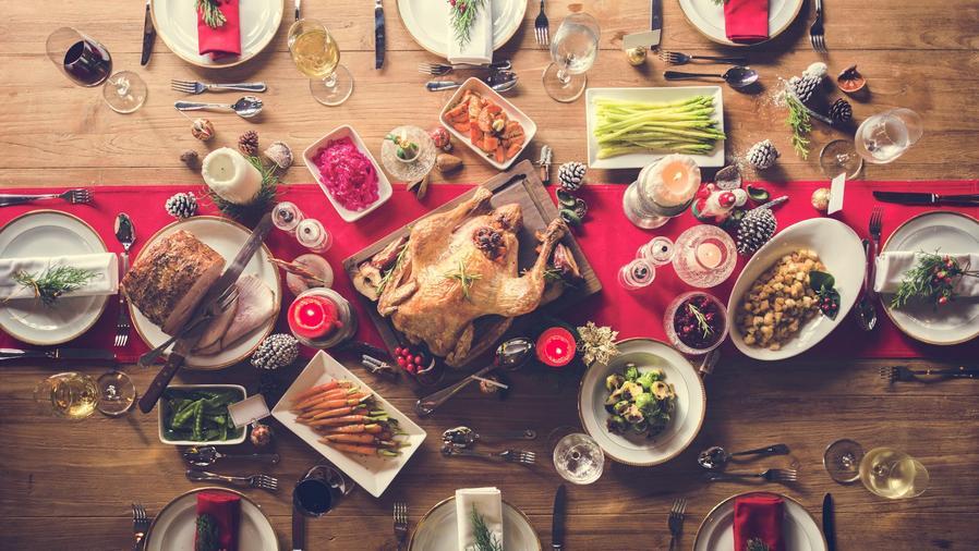 Vista aérea de comida de Navidad