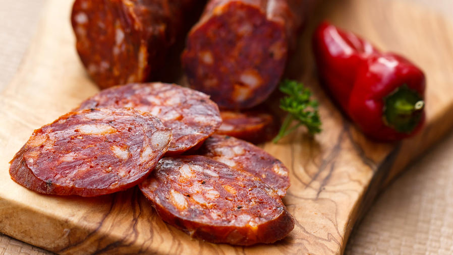 Chorizo on a cutting board