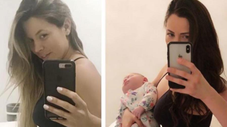 Ximena Duque antes y después del parto