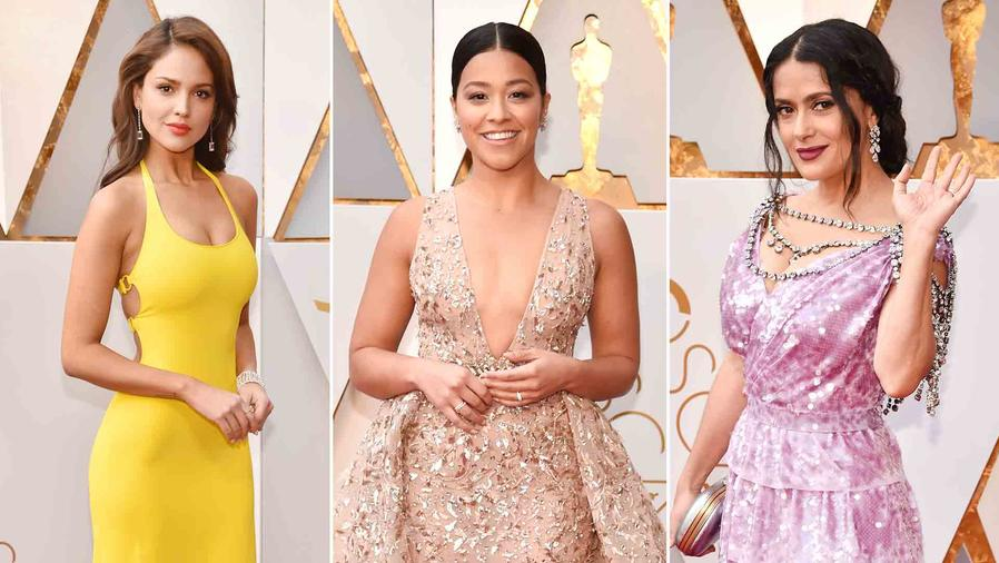 Eiza González, Gina Rodriguez, Salma Hayek at the 2018 Oscars red carpet