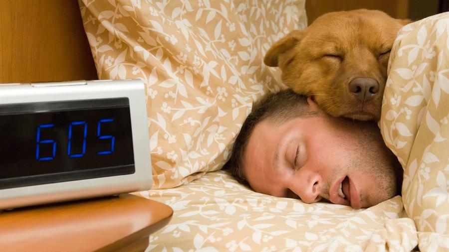 Hombre durmiendo con perro, con la boca abierta