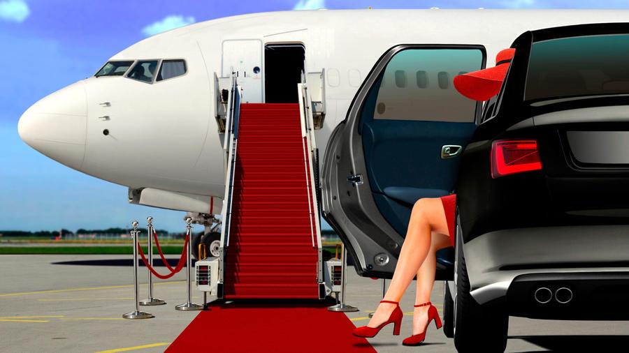 Mujer baja de un coche, frente a avión privado