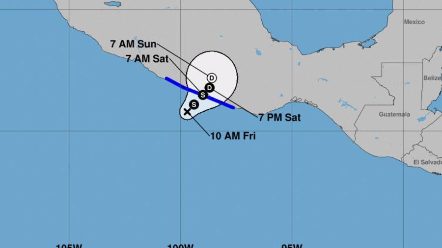 Mapa de la tormenta Carlotta en el Pacífico mexicano