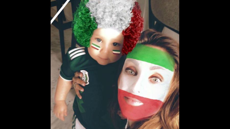 Anahí con su hijo Manuel