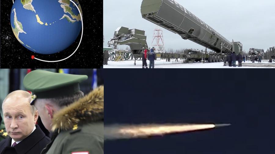 Imágenes del armamento desvelado por Putin (a la izquierda) el pasado febrero.