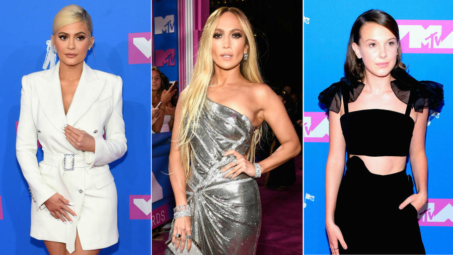 Kylie Jenner, Jennifer Lopez y Milly Bobby Brown en los MTV VMAs 2018