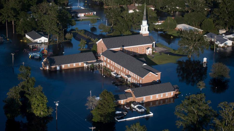 Inundaciones por Florence en Carolina del Sur en una imagen de ayer