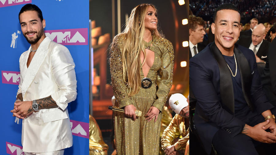 Maluma, Jennifer Lopez y Daddy Yankee collage