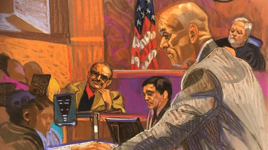 Dibujo de la sala de la corte de Brooklyn donde se lleva a cabo el juicio contra El Chapo.