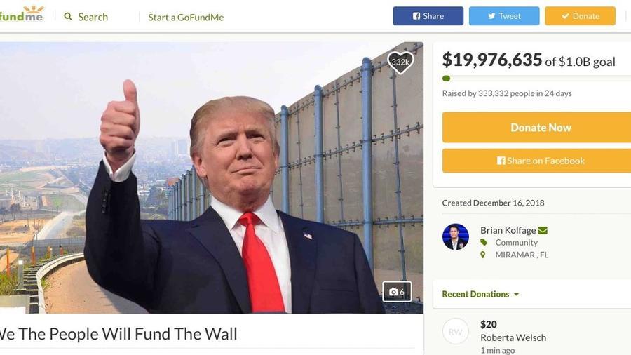 Captura de pantalla de la campaña de recolección de fondos en GoFundMe para el muro en la frontera