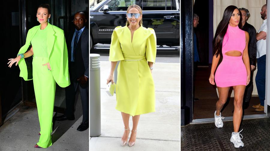 Bale Lively, Jennifer Lopez y Kim Kardashian usando atuendos neón