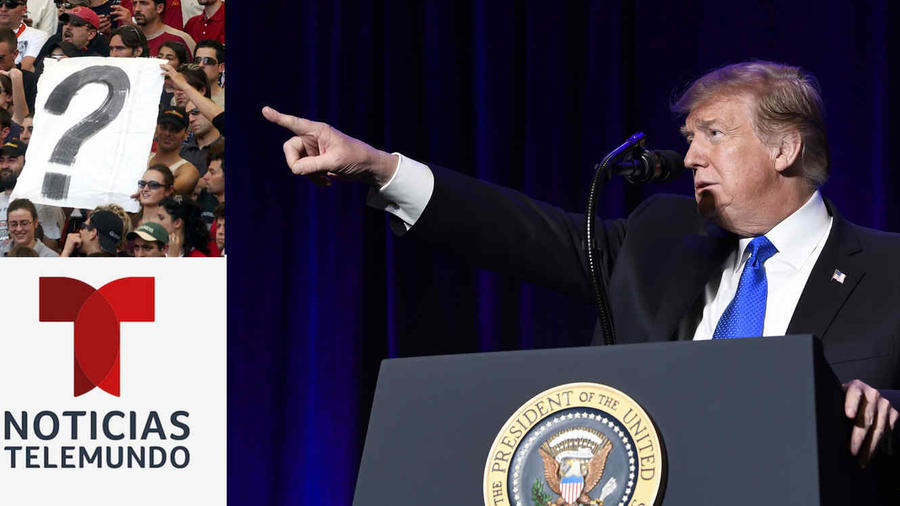 Trump, durante un evento en Washington el 13 de febrero. A la izquierda, imagen de archivo de un cartel con un signo de interrogación y el logotipo de Noticias Telemundo.