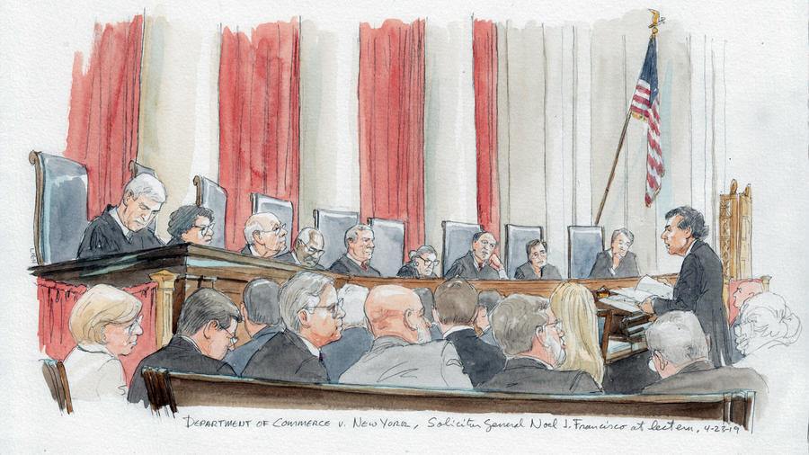 Skecth de nueve jueces del Tribunal Supremo que escucharon hoy argumentos a favor y en contra de incluir una pregunta sobre la ciudadanía en el Censo