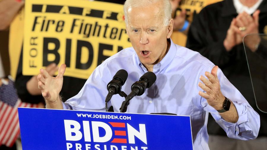 oe Biden, durante su primer discurso como precandidato a la presidencia en Pittsburgh, Pennsylvania