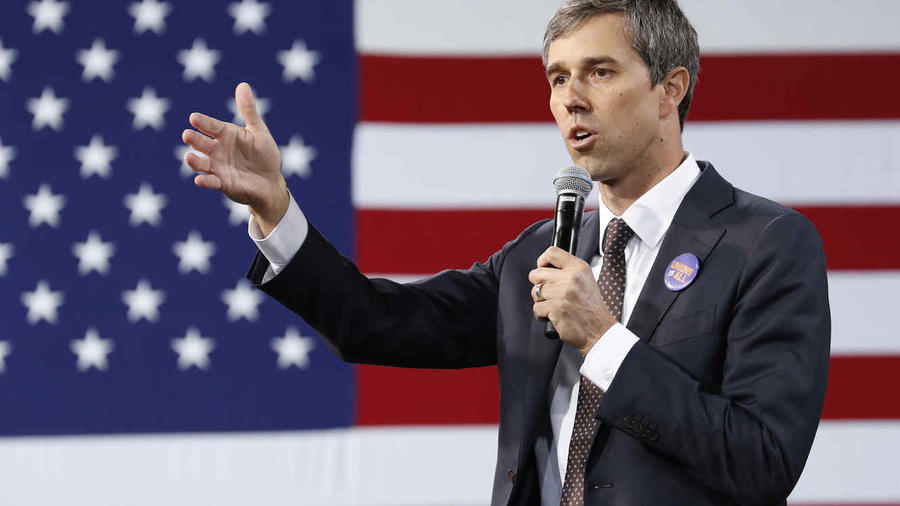 El precandidato presidencial demócrata Beto O'Rourke en un evento en Las Vegas, Nevada el 27 de abril de 2019