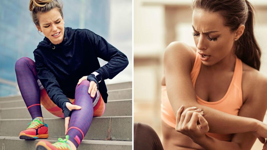 Mujer con dolor de pierna y brazo
