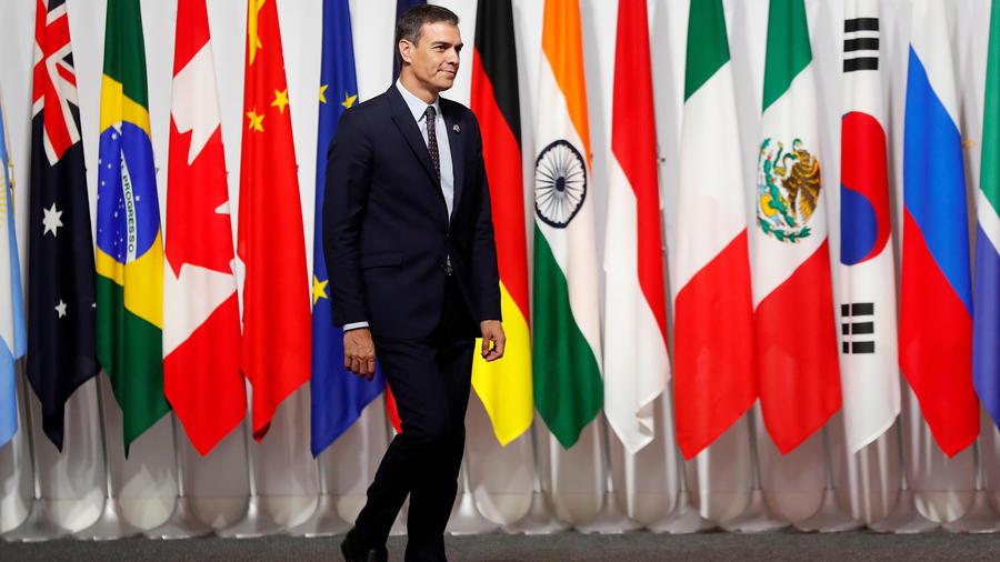 El presidente del gobierno español Pedro Sánchez hoy en la cumbre del G20 en Japón