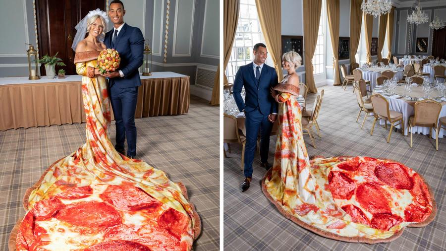 Vestido de novia hecho de pizza