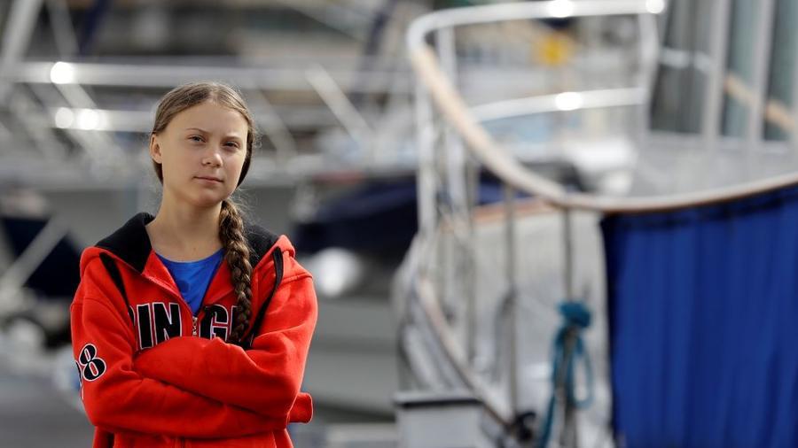 Greta Thunberg antes de partir desde Plymouth, Inglaterra, el martes 13 de agosto de 2019.