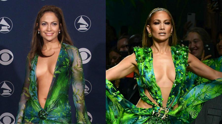 Jennifer Lopez en los Grammys 2000 vs. Jennifer Lopez en el desfile de Versace en la Milan Fashion Week
