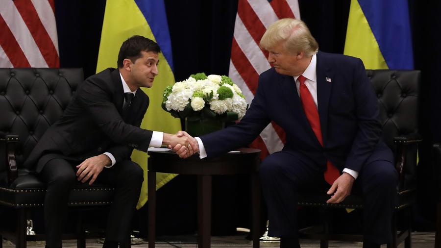 Imagen del presidente, Donald Trump, con el presidente ucraniano Volodymyr Zelensky el 25 de septiembre de 2019.