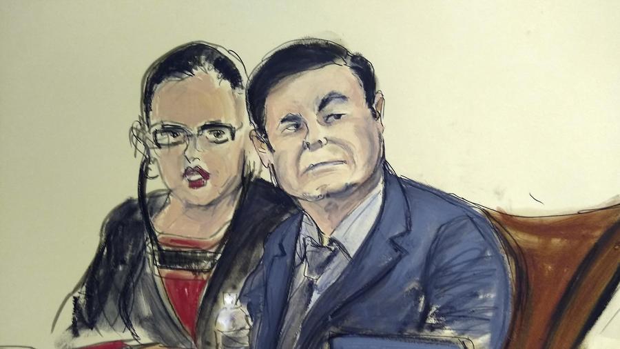 Imagen de archivo de un retrato de Joaquín El Chapo Guzmán durante el juicio.