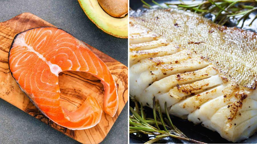 Filete de salmón y bacalao