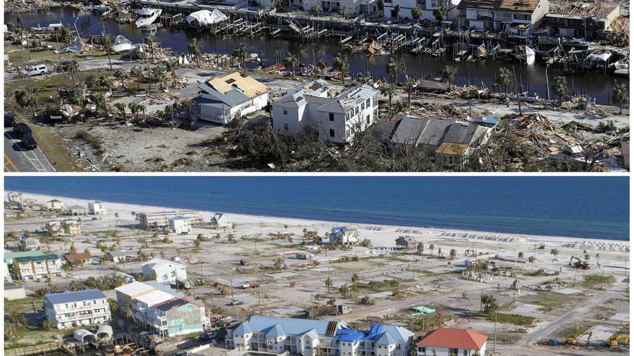 Fotografías comparadas de Mexico Beach, Florida, tras el paso del huracán Michael
