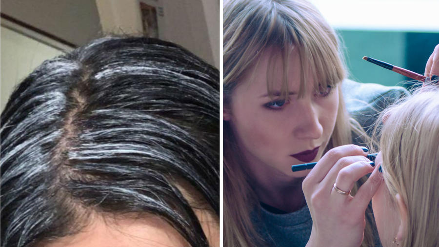 Mujer maquillando a otra chica