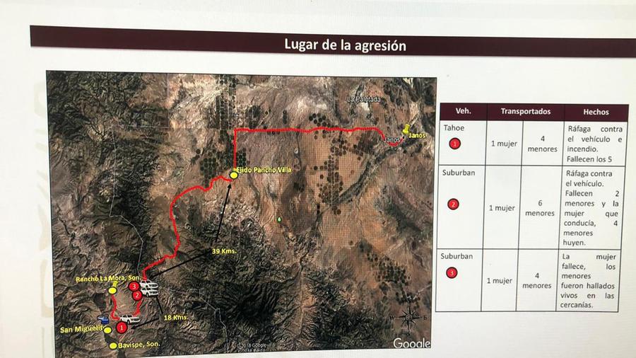 Mapa de la agresión en México en la que mueron 9 miembros de familia estadounidense