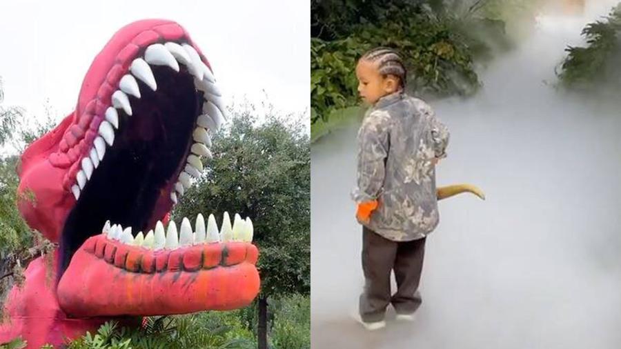 Saint West fiesta con dinosaurios
