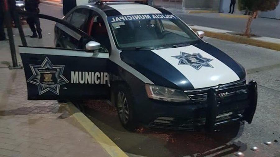 Un carro de la policía municipal de Villagrán, en Guanajuato (México).