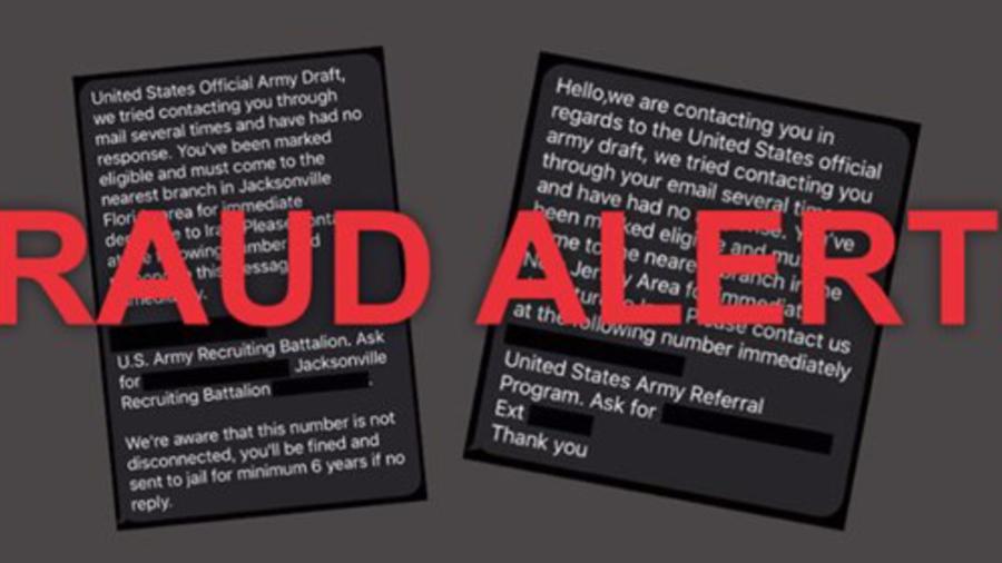 Alerta de fraude del Ejército.