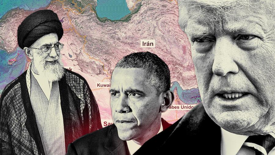 El ayatolá Sayed Ali Khamenei, izq., líder espiritual de Irán; el expresidente de Estados Unidos, Barack Obama, y el actual presidente de EE.UU., Donald Trump.