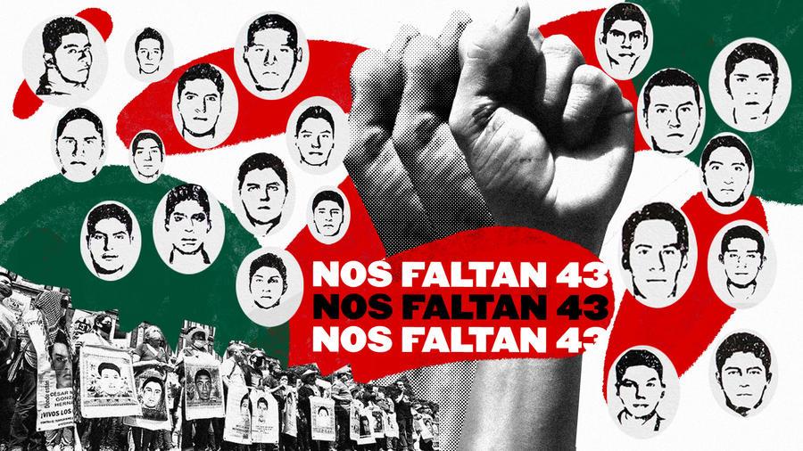 """""""Nos faltan 43"""" es la principal consigna en torno al caso Ayotzinapa, en referencia a los estudiantes normalistas que están desaparecidos desde septiembre de 2014."""